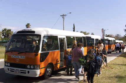 Students catching buses